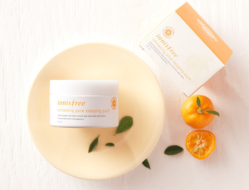 review mặt nạ ngủ innisfree whitening pore sleeping pack.