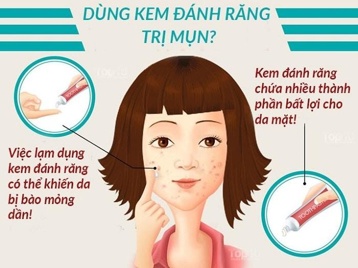 cách trị mụn thâm bằng kem đánh răng