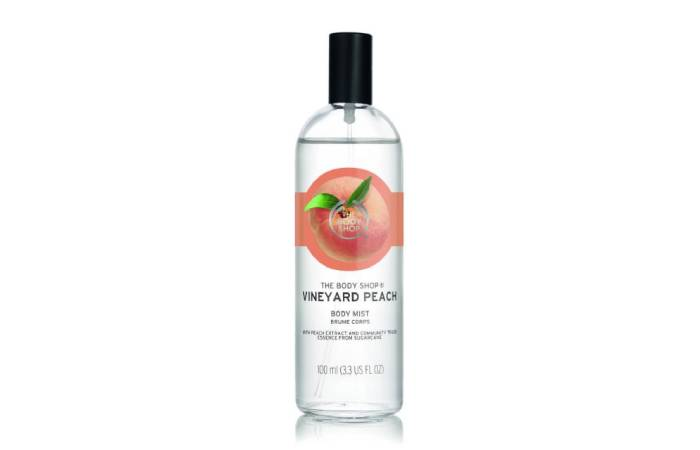 body mist the body shop peach