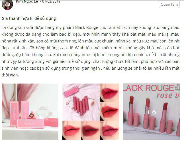 son thỏi black rouge rose velvet lipstick giá bao nhiêu