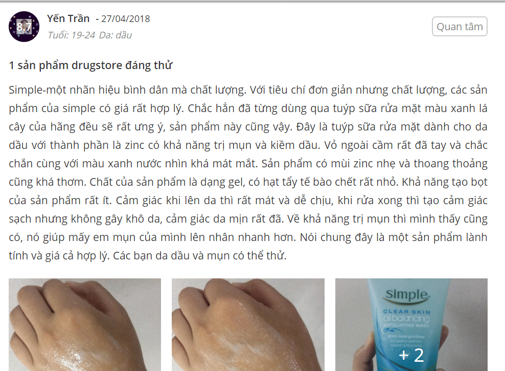 sữa rửa mặt simple cho da mụn