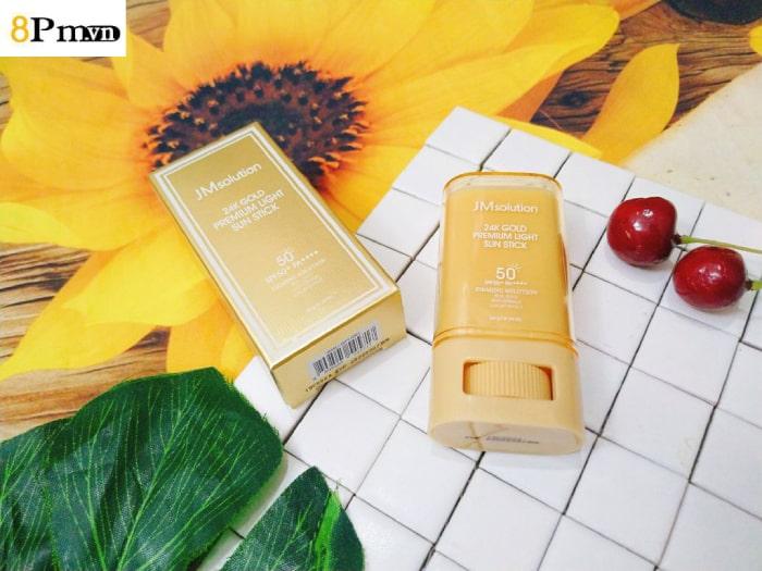 review kem chống nắng dạng thỏi jm solution