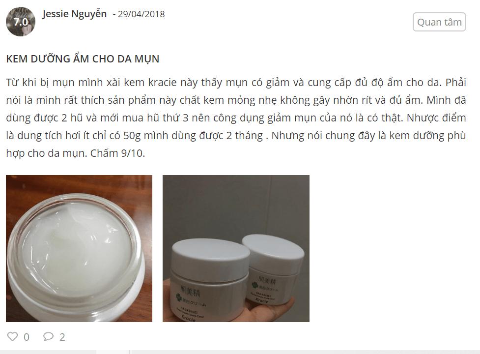 kem dưỡng kracie hadabisei facial cream review
